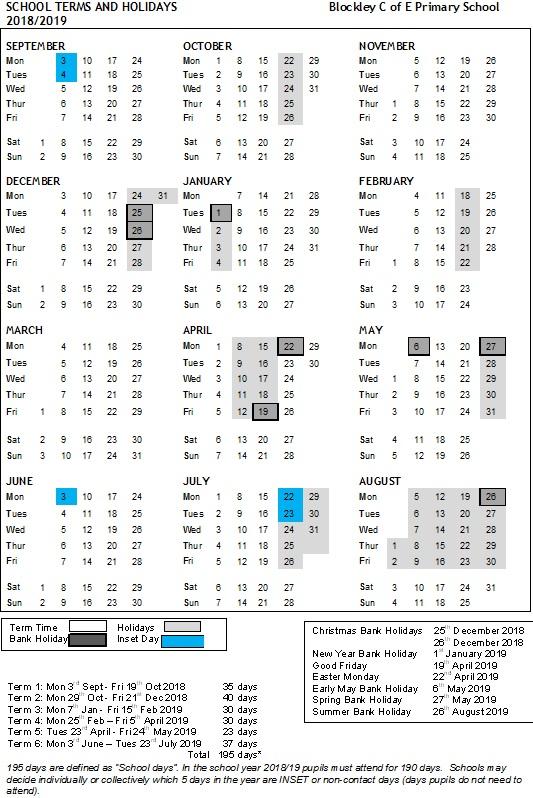 Term Dates » Blockley Primary School